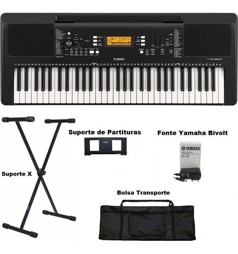 kit teclado yamaha psr- e363 61 teclas 5/8 oitavas bivolt
