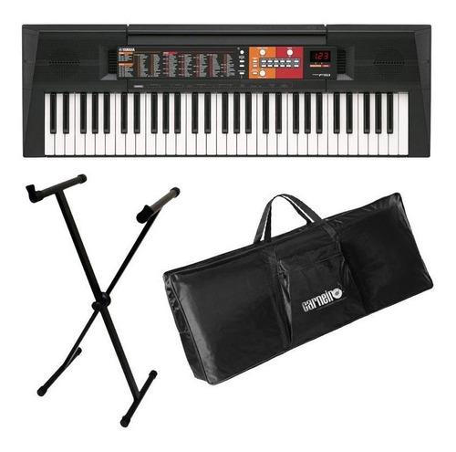 kit teclado yamaha psr-f51 f51 + fonte + capa + estante
