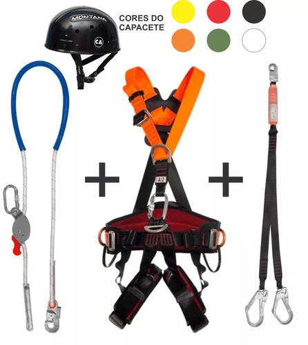 kit telecom cinto paraquedista, talabarte, capacete