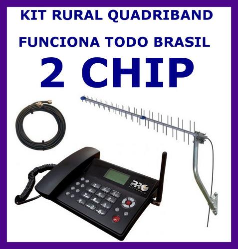 kit telefone celular rural 2 chip +internet cabo 15 m antena