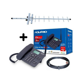 Kit Telefone De Mesa Rural Dual Chip Quadriband Aquario