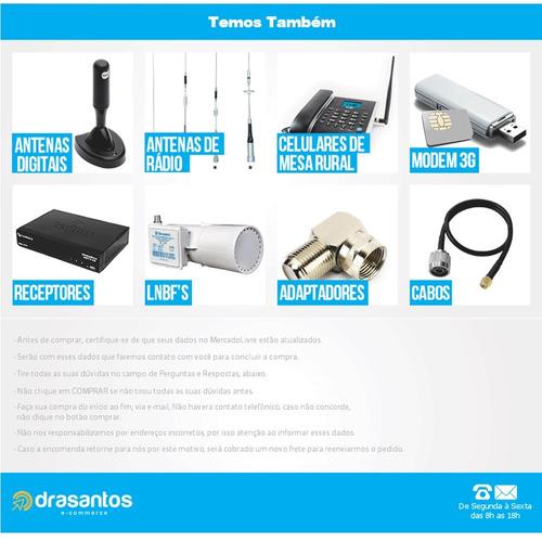 kit telefone mesa celular rural dual chip + 15m cabo + anten