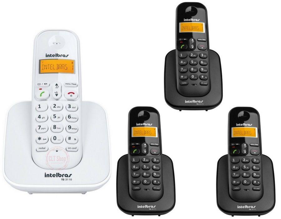 17b002c6e kit telefone s  fio ts 3110 branco + 3 ramal preto intelbras. Carregando  zoom.