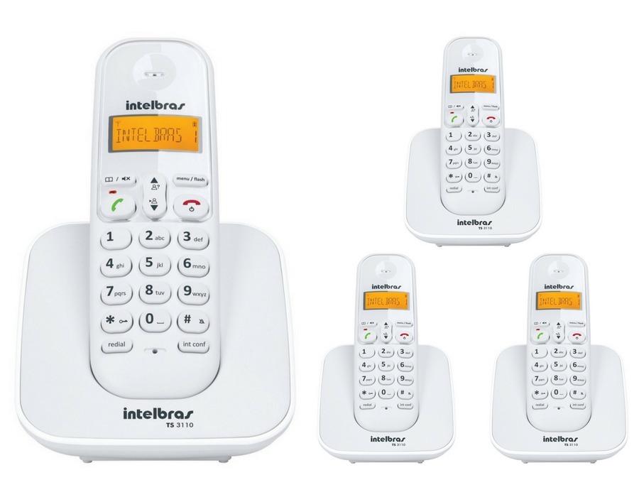 d65952503 kit telefone sem fio ts 3110 com 3 ramal intelbras branco. Carregando zoom.