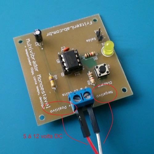 kit temporizador com circuito integrado 555 p/ aprendizagem