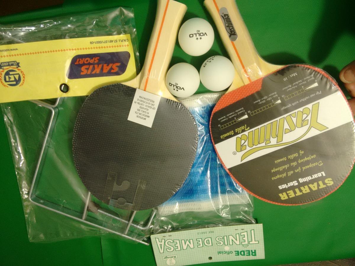 kit tenis de mesa- 2 raquetes yashima+3 bolas vollo+sup+rede. Carregando  zoom. 333e7019beb90