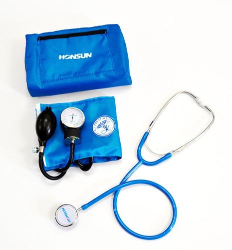 kit tensiometro + fonendoscopio lujo color azul