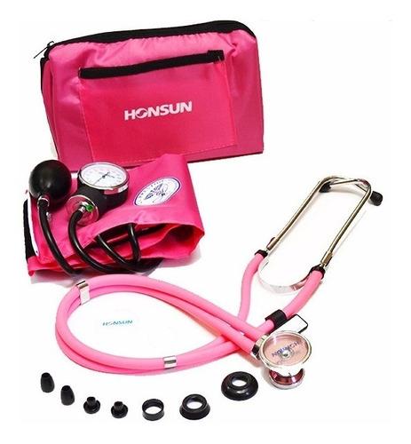 kit tensiómetro + manual + fonendoscopio  rappaport  rosado