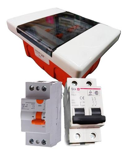 kit termica + disyuntor six electric + caja para 4 polos