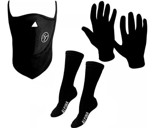 kit termico guantes 1ra piel + mascara + medias abrigo sti