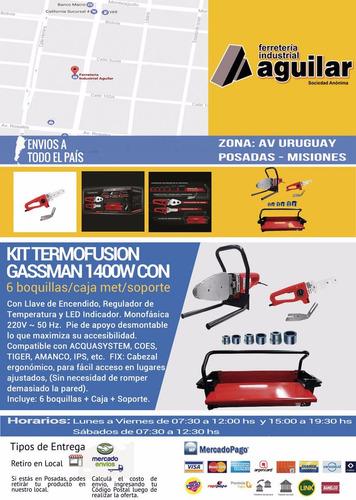 kit termofusion gassman 1400w con 6 boquillas/caja met/sopor