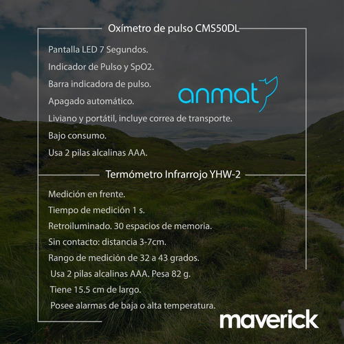 kit termometro infrarrojo + oximetro maverick 1 año garantía