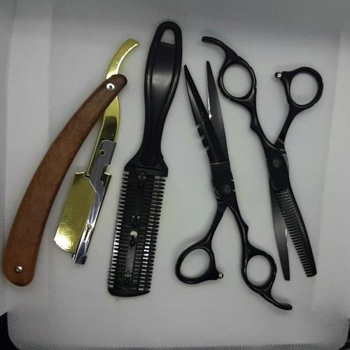 kit tesouras profissionais 6 polegadas preta fosca