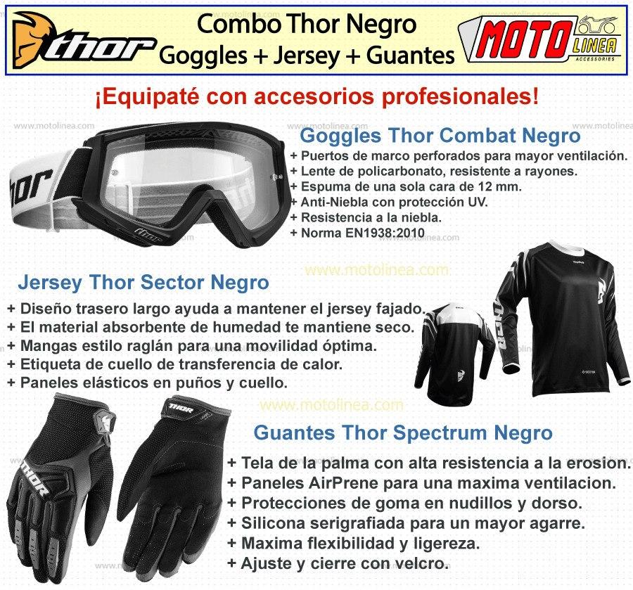 Kit Thor Negro Goggles + Jersey + Guantes Motocross Honda ...