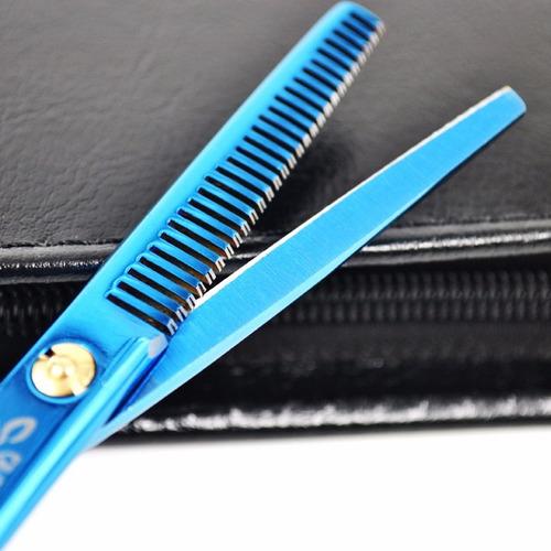 kit tijeras peluqueria entresacadora deslizante + estuche