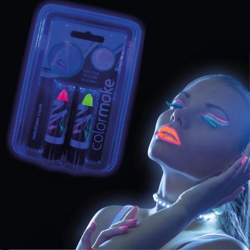 kit tinta facial + batom amarelo vermelho neon fluorescente