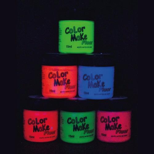 kit tinta facial líquida + batom neon fluorescente