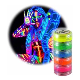 Kit Tinta Fluorescente 5 Cores Neon Facial Corporal Festa