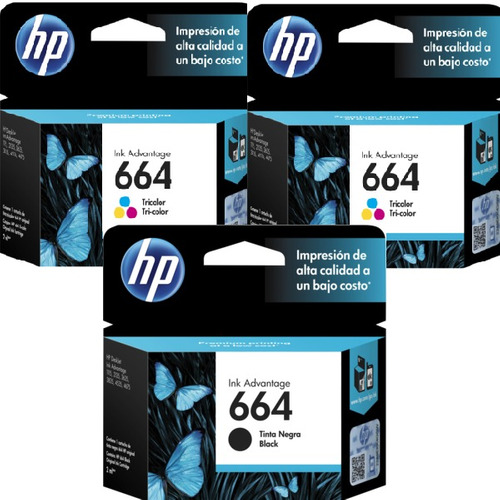 kit tinta hp 664 (3 pzas) originales deskjet 2135 3635 3835
