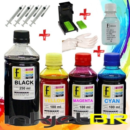 kit tinta recarga cartucho 664 hp 2136 3636 3836 + snap fill