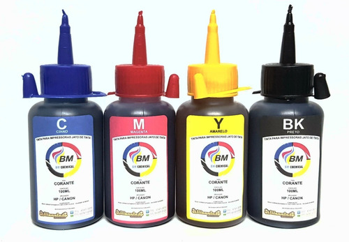 kit tinta recarga corante 4x 1 litro universal bm chemical