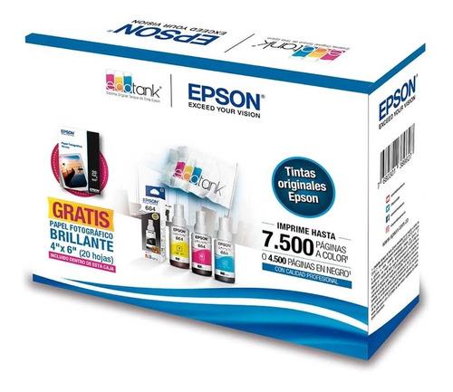 kit tintas epson t664 original + obsequio papel fotográfico