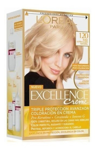 kit tintura excellence creme 120 rubio ultra claro natural