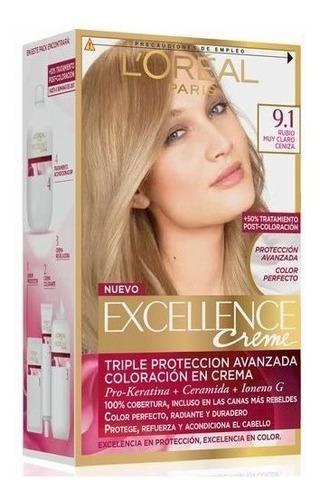 kit tintura excellence creme color 9.1 rubio muy claro ceniz