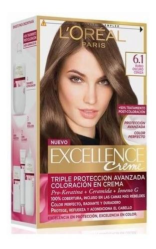 kit tintura excellence creme loreal 6.1 rubio oscuro ceniza