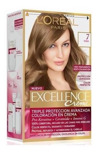 kit tintura excellence creme loreal color 7 rubio
