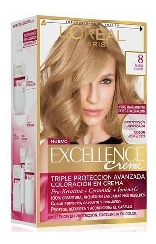 kit tintura excellence creme loreal color 8 rubio claro