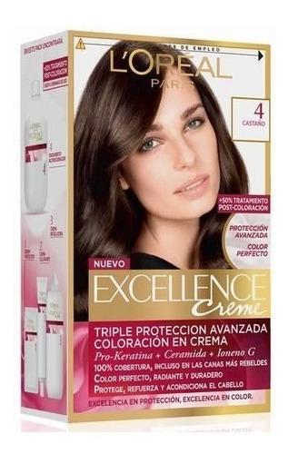 kit tintura excellence creme loreal paris color 4 castaño