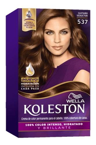 kit tintura koleston wella color 537 castaño seductor