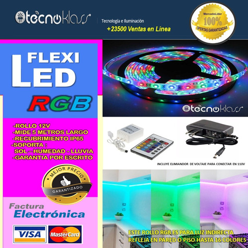 kit tira leds rgb con eliminador rollos luces anuncios casas