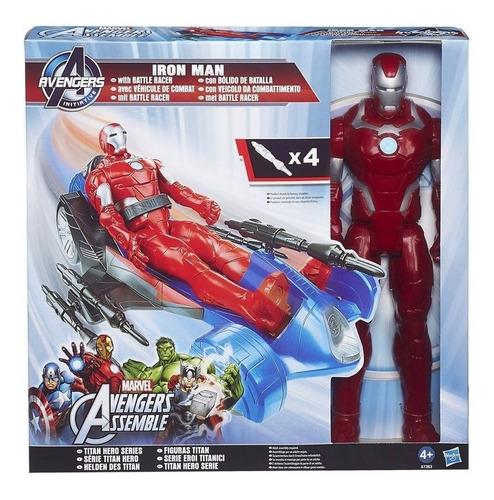 kit titan hero avengers iron man + veículo hasbro a7363