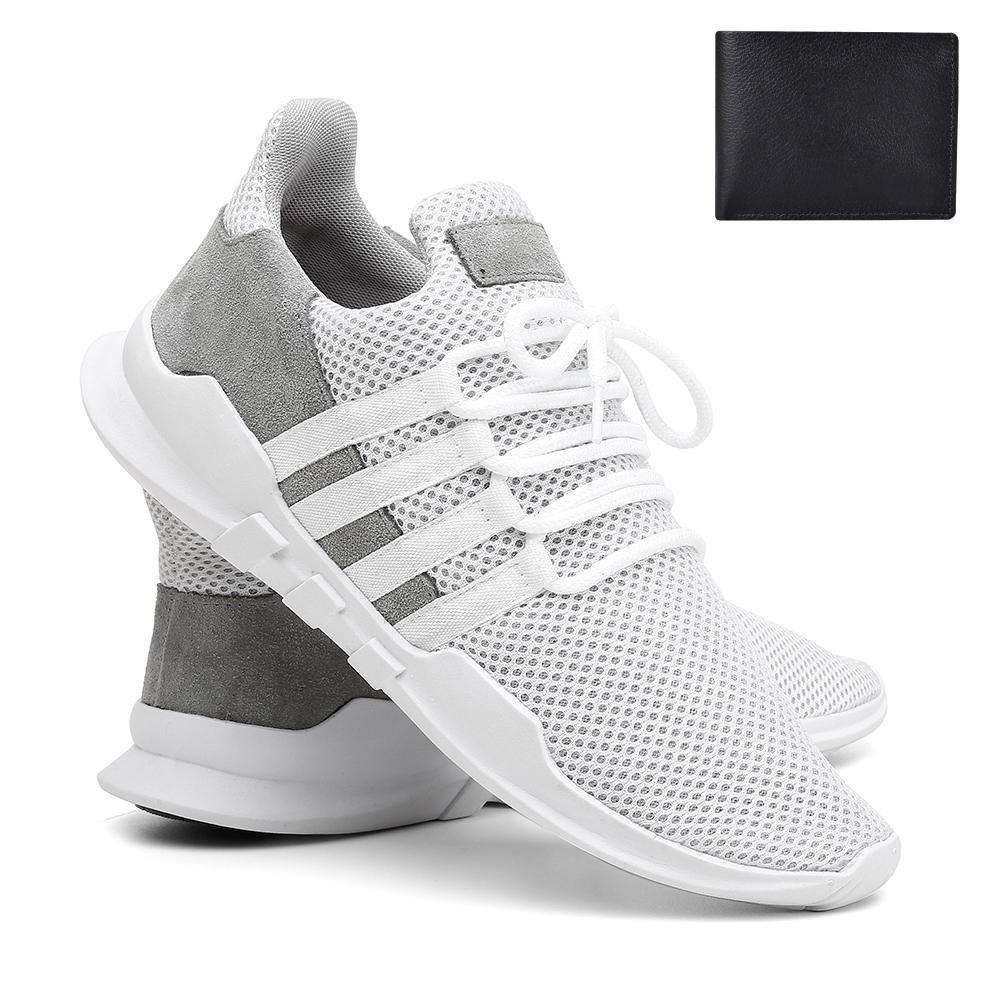 0ba4fe0351c04 kit tênis caminhada confortável detalhes couro vr + carteira. Carregando  zoom.