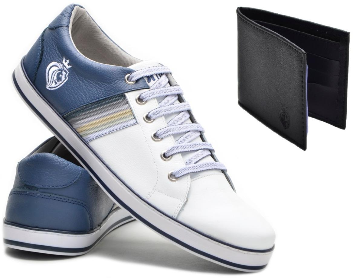 6f45e9241f8d6 kit tênis casual faixa + carteira masculina couro original. Carregando zoom.
