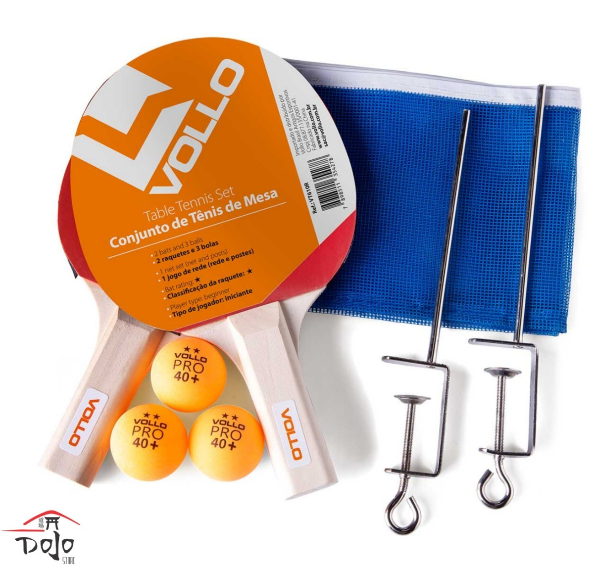 bcbb34839 Kit Tênis De Mesa Ping Pong Vollo- 2 Raquete 3 Bolas E Rede - R  59 ...