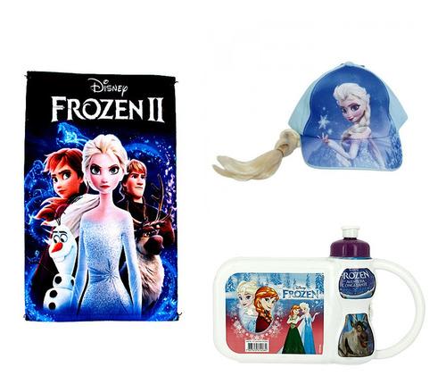 kit toalha de rosto frozen 2 azul + boné com trança frozen