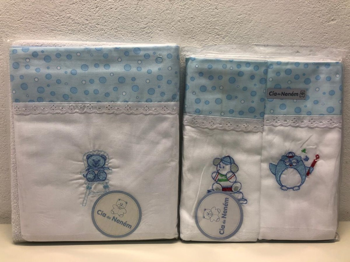 6fb48b9d2fb047 Kit Toalhas De Banho 3 Peças + 2 Toalhas Cia Do Neném Azul