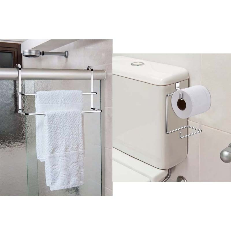 ba023de8e kit toalheiro duplo de box e suporte porta papel cx descarg. Carregando  zoom.
