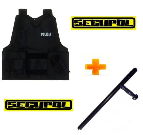 kit tonfa + funda chaleco porta placa táctico polcial- swat