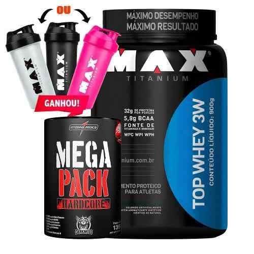 6c93b7d25 Kit Top Whey 3w + Mega Pack Hardcore + Coq Max Titanium - R  181