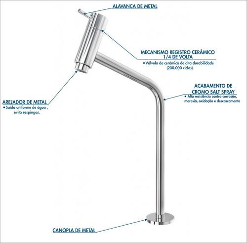 kit torneira link alta 45°+válvula click 7/8''b+sifão+flx/ f