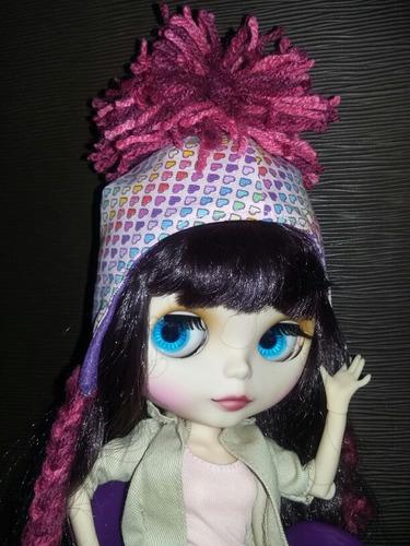 kit touca e urso color para boneca blythe pullip e similares