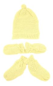 004381bb3623ab Kit Touca, Luvas E Sapatinho Tamine Tricô Amarelo
