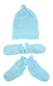 4157c290b6088d Kit Touca, Luvas E Sapatinho Tamine Tricô Azul Bebê