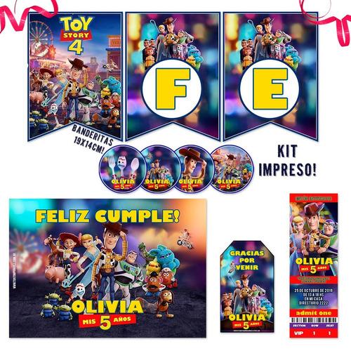 kit toy story 4 invitacion banderín candy impreso x30 xl