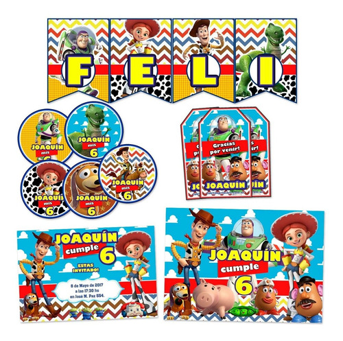 kit toy story candy bar invitaciones banderin stickers