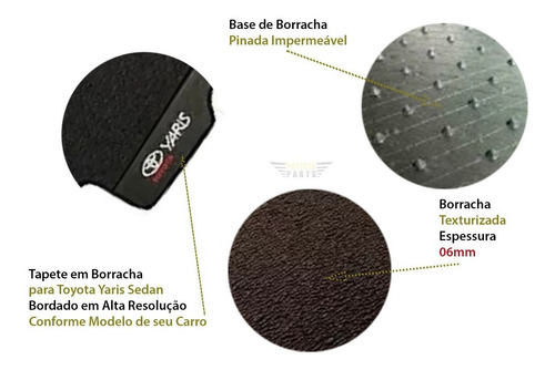 kit toyota yaris sedan tapetes e porta malas borracha